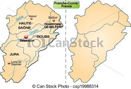 Vector Clip Art of Map of Franche.