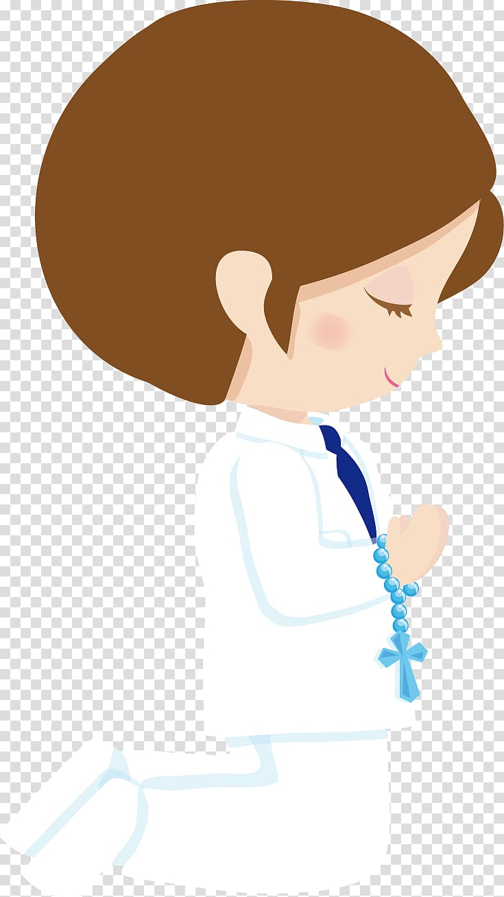 Girl praying with rosary illustration, Paper Child First Communion.