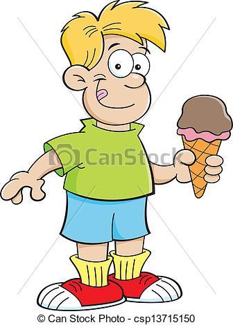 Clipart Vector of Cartoon boy eating an ice cream con.