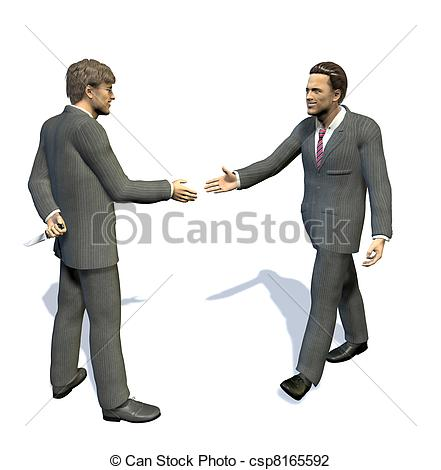 Clip Art of two men going to shake their hands.