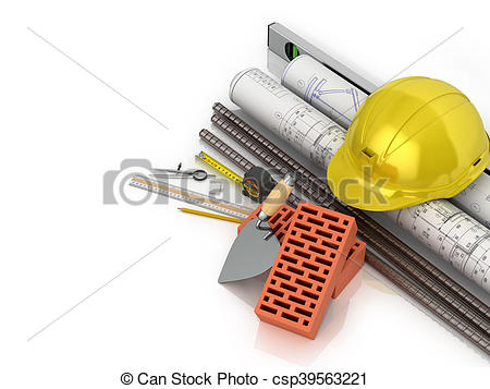 Clip Art of Conceived saving building materials on a white.