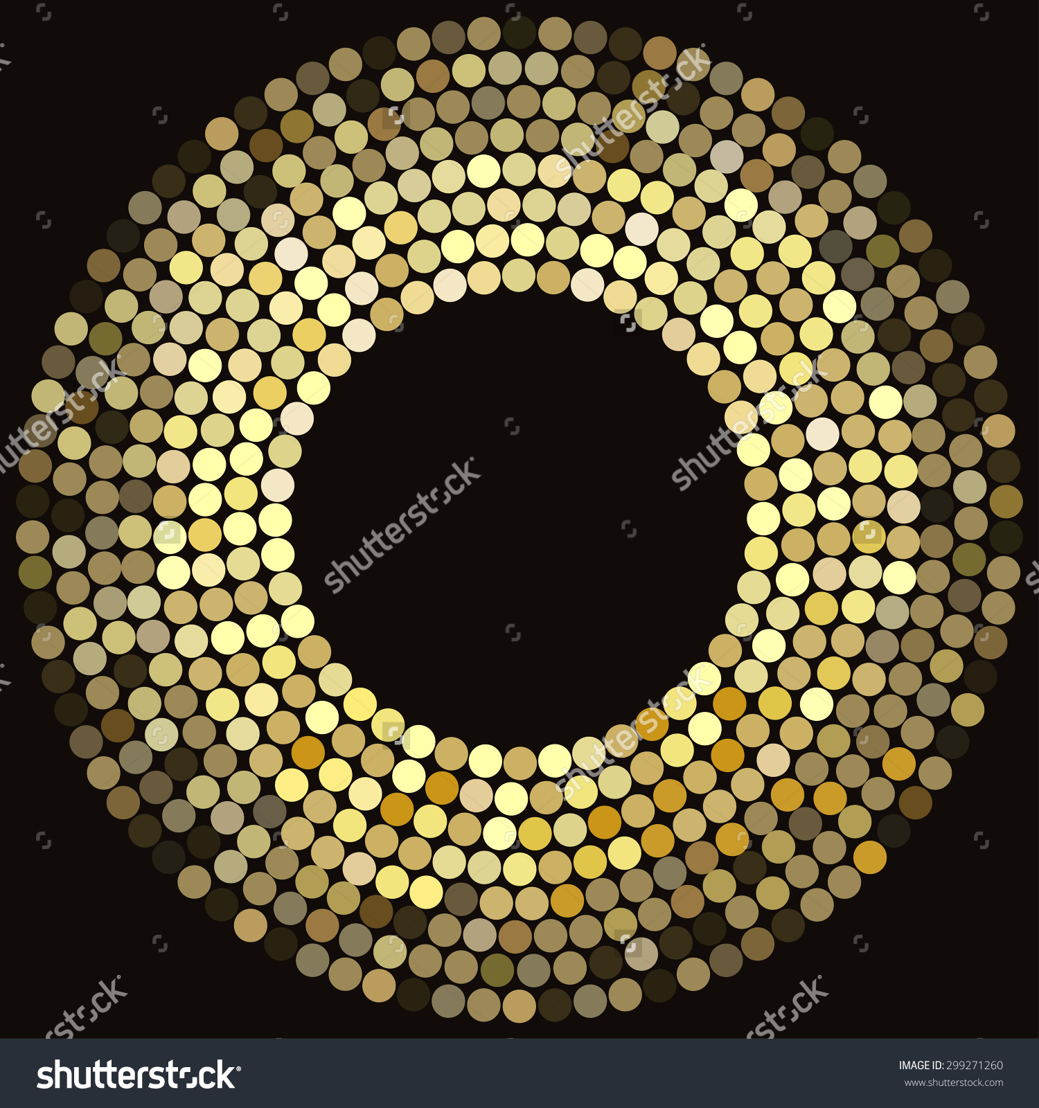 Golden Disco Lights Frame Abstract Mosaic Stock Vector 299271260.