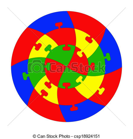 Clipart Vector of Concentric jigsaw puzzle. Editable lines for.