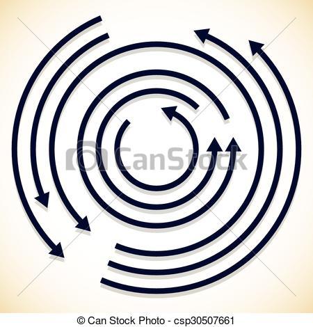 Clip Art Vector of Concentric circulating, rotating arrows, circle.