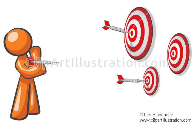 ClipArt Illustration Orange Man Throwing Darts Concept.