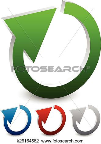Clipart of Illustration of circular arrow. 3d cyclic arrows.