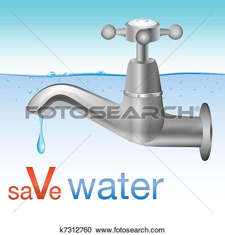 Clipart of Conceptual save water design k7312760.