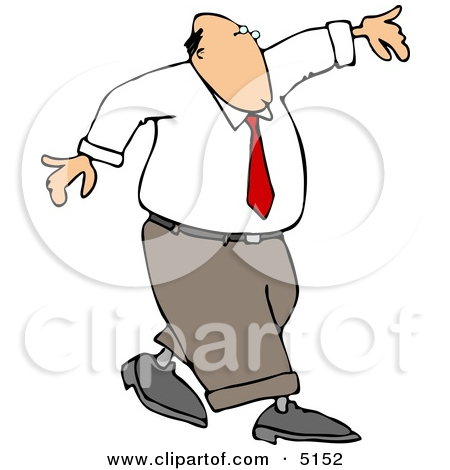 Conceptual Clipart Illustration of a Man Walking and Balancing On.