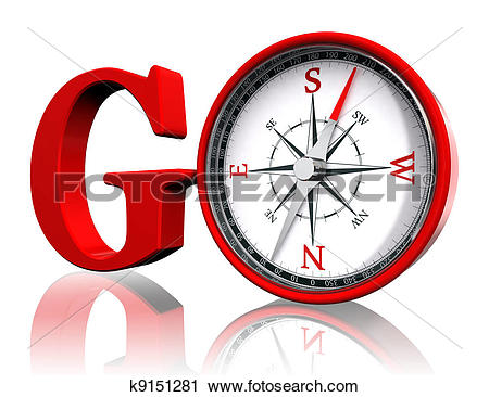 Clipart of go red word and conceptual compass k9151281.