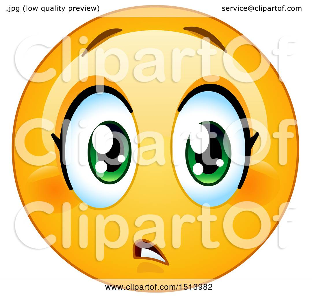 Clipart of a Yellow Female Emoji Face Expressing Concern.