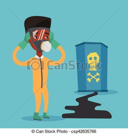 Clip Art Vector of Man in radiation protective suit..