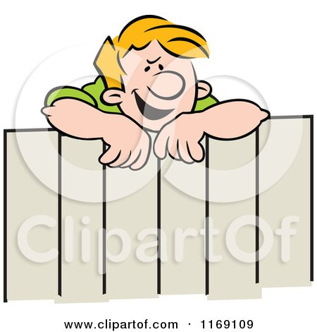 Cartoon of a Concerned Blond Neighbor Woman Talking over a Fence.