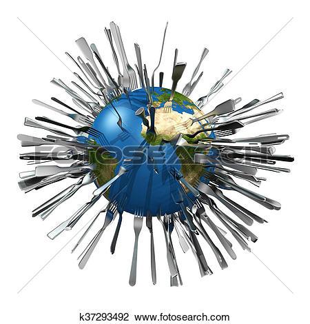 Clip Art of metaphorical image concerning global food ressources.