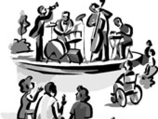 Concert clipart black and white, Concert black and white.