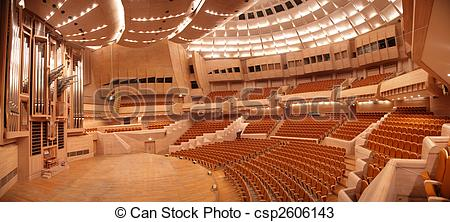 Stock Photos of Panorama of empty concert hall with organ.
