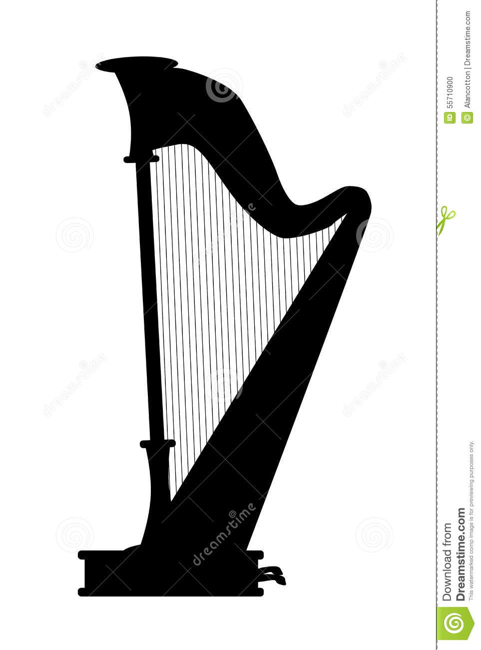 Harp Stock Illustration.
