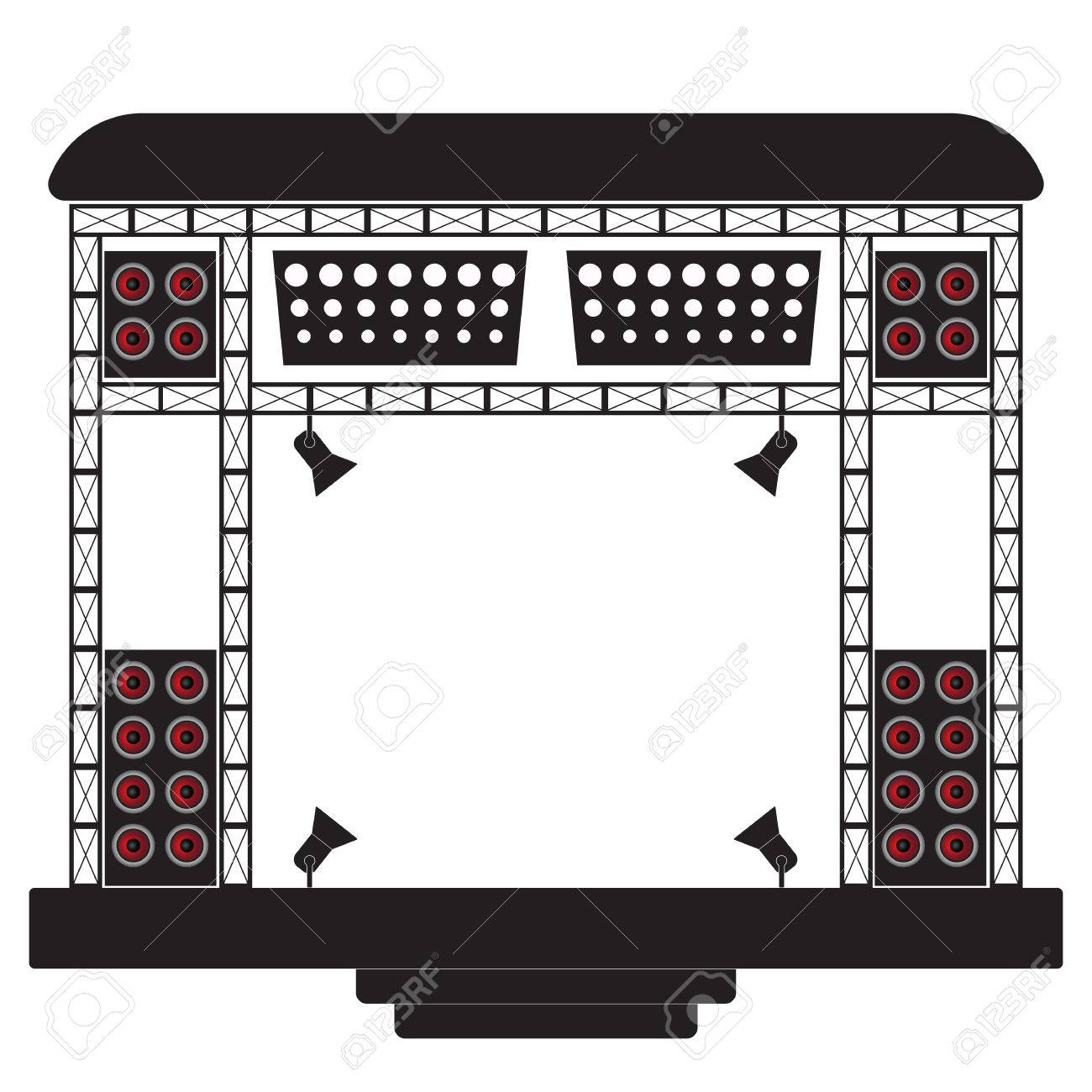 Concert stage and musical equipment..
