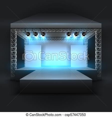 Empty music show stage with spotlights beams. Concert performance podium  vector backdrop.