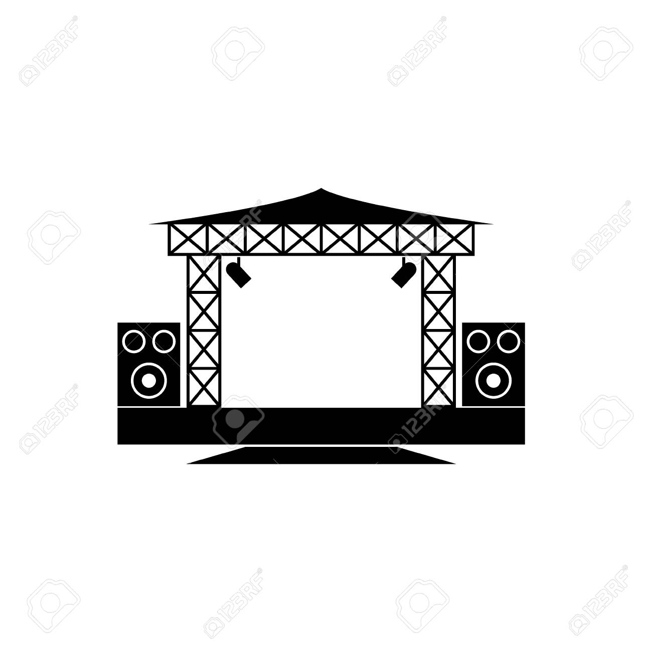 an vector icon about outdoor concert stage.