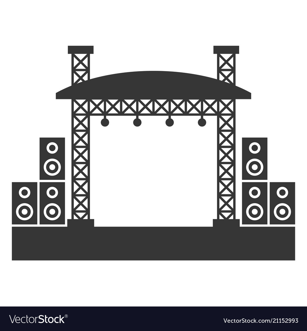 Outdoor concert stage constructions with sound.