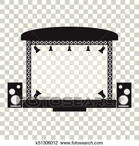 Concert stage and musical equipment simpl flat design. Clipart.