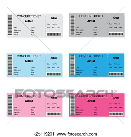 Set of Colorful Concert Tickets. Clipart.