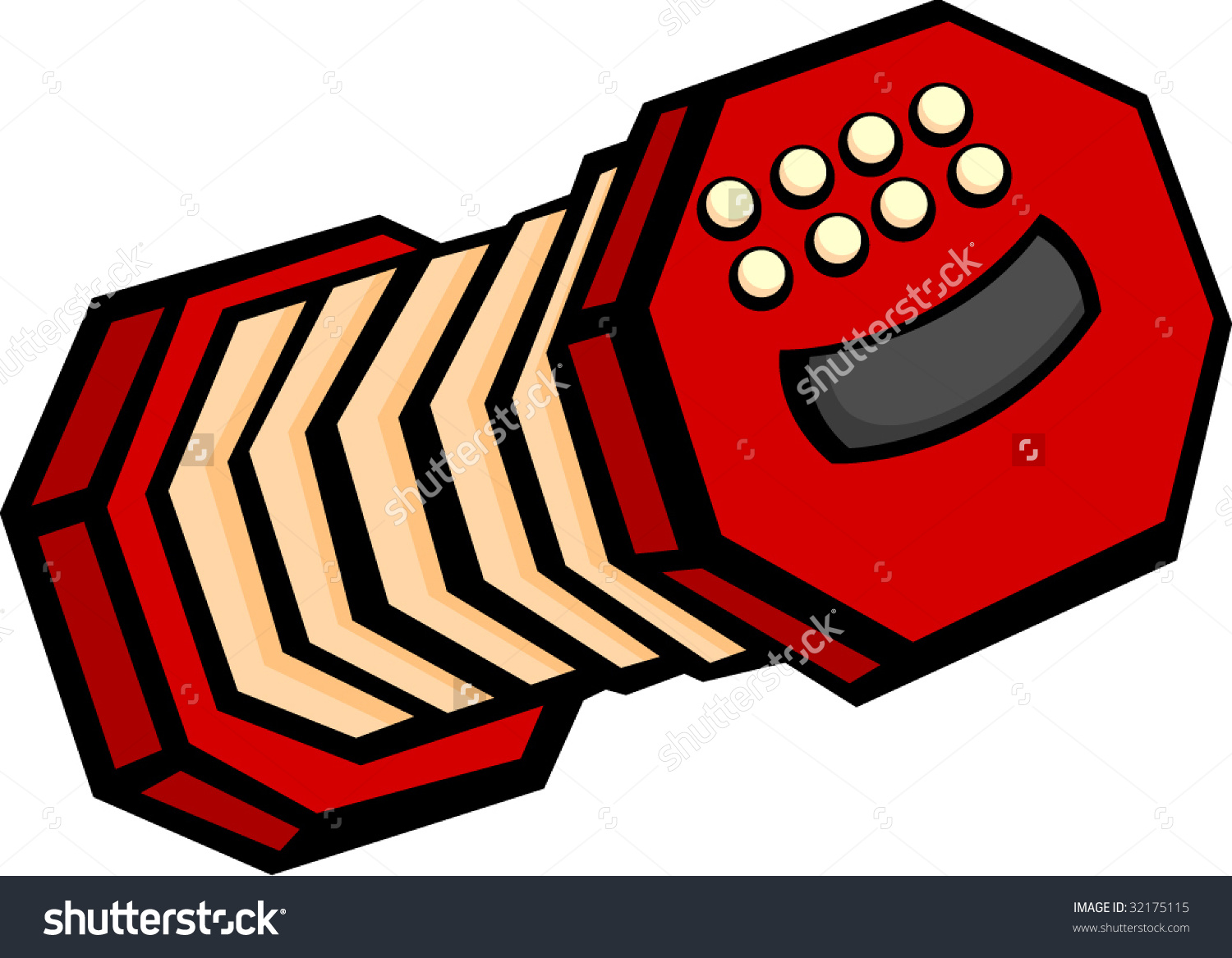 Concertina Accordion Musical Instrument Stock Vector 32175115.