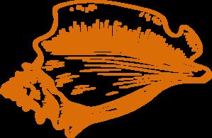 Orange Conch Shell Clip Art.