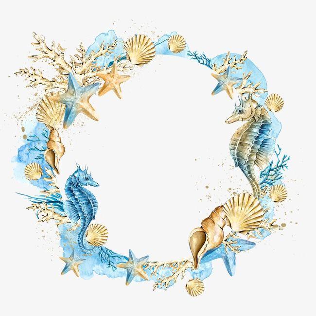 Shells Starfish Wreath, Starfish Clipart, Shell, Starfish.