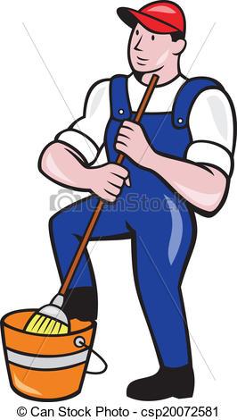 Vecteur de nettoyeur, lavette, seau, tenue, concierge, dessin.