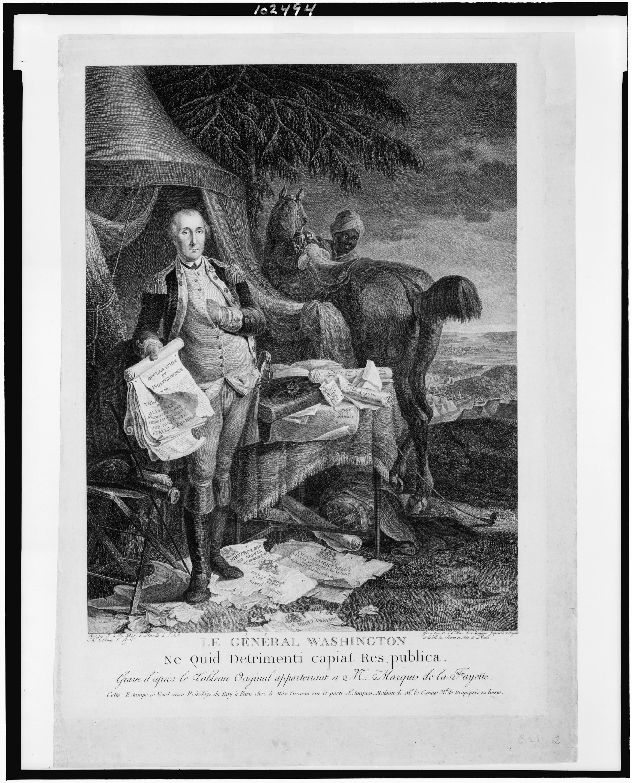 George Washington With Declaration Of Independence.
