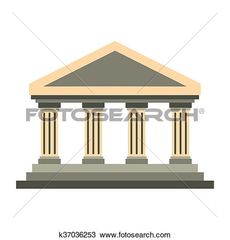 Drawing of Temple of Concordia at Agrigento, Italy icon k37036253.