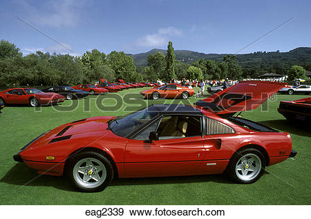 Stock Photograph of FERRARI SPORTS CARS at the CONCORSO ITALIANO.