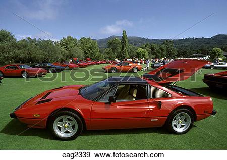 Stock Photograph of FERRARI SPORTS CARS at the CONCORSO ITALIANO.