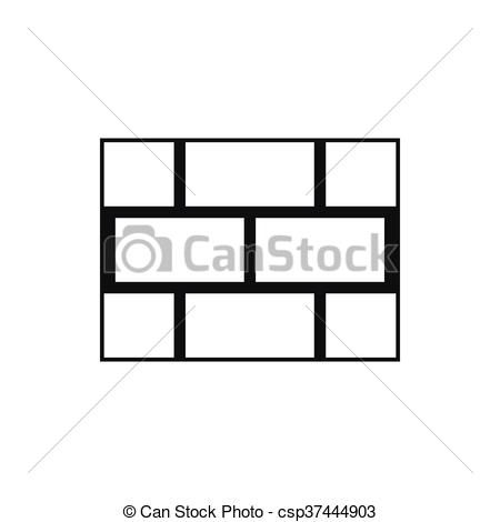 Vector Clipart of Concrete block wall icon, simple style.
