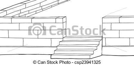 Vector Illustration of Outline Concrete Block Patio.