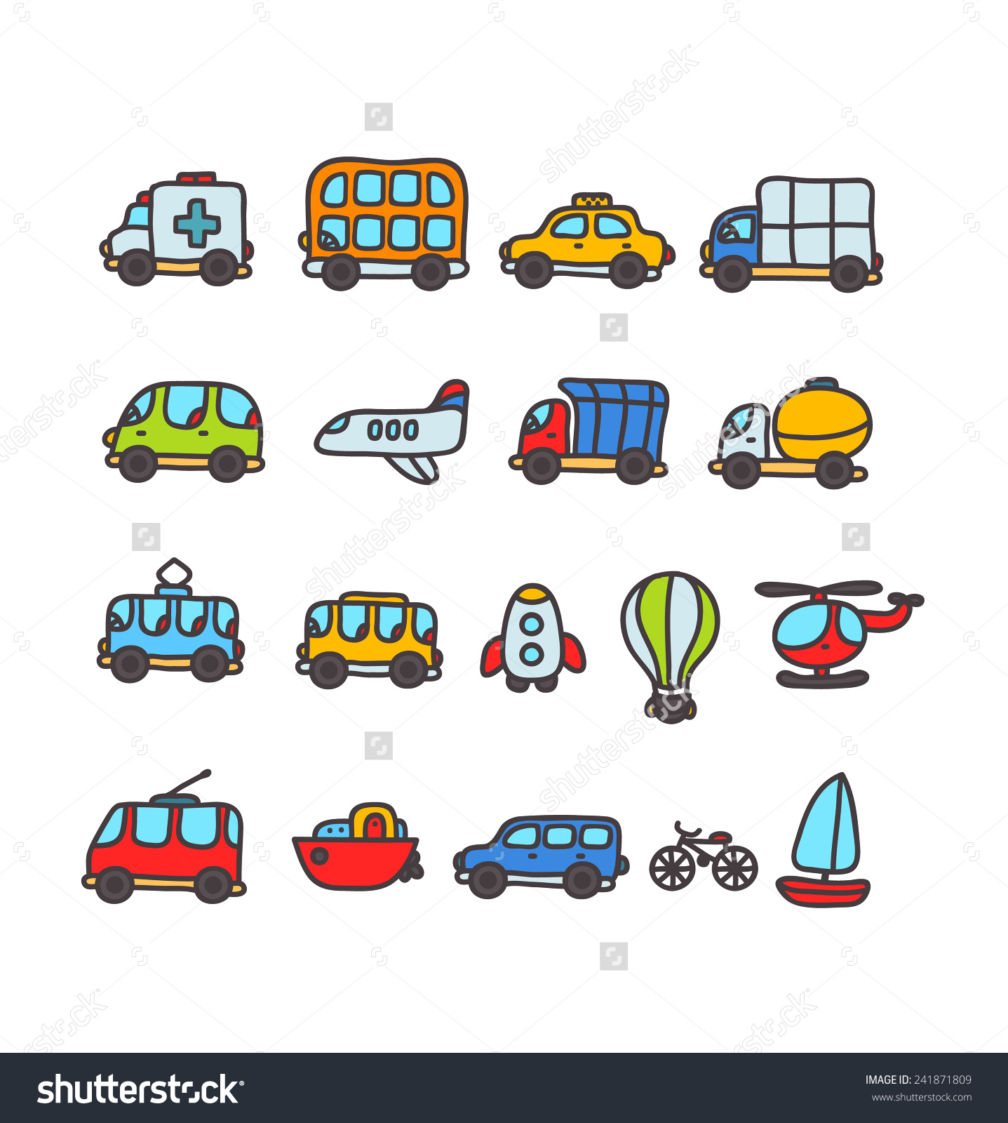 Cute Cartoon Hand Drawn Transport Icon Stock Vector 241871809.