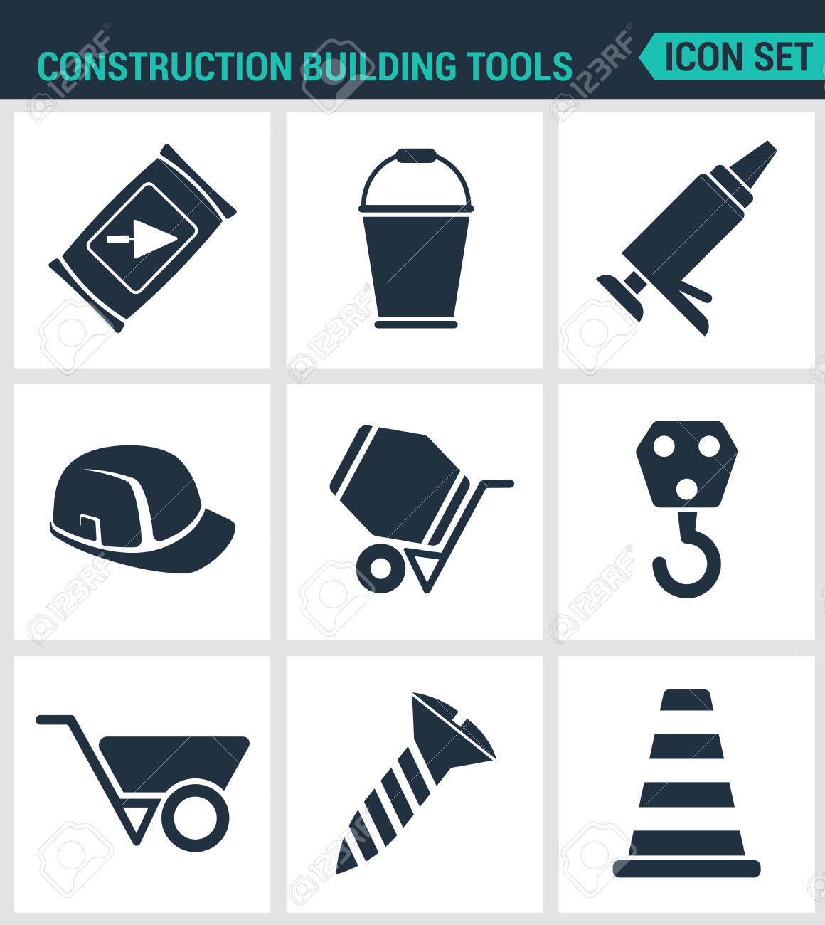 Set Modern Vector Icons. Construction Building Tools Cement.