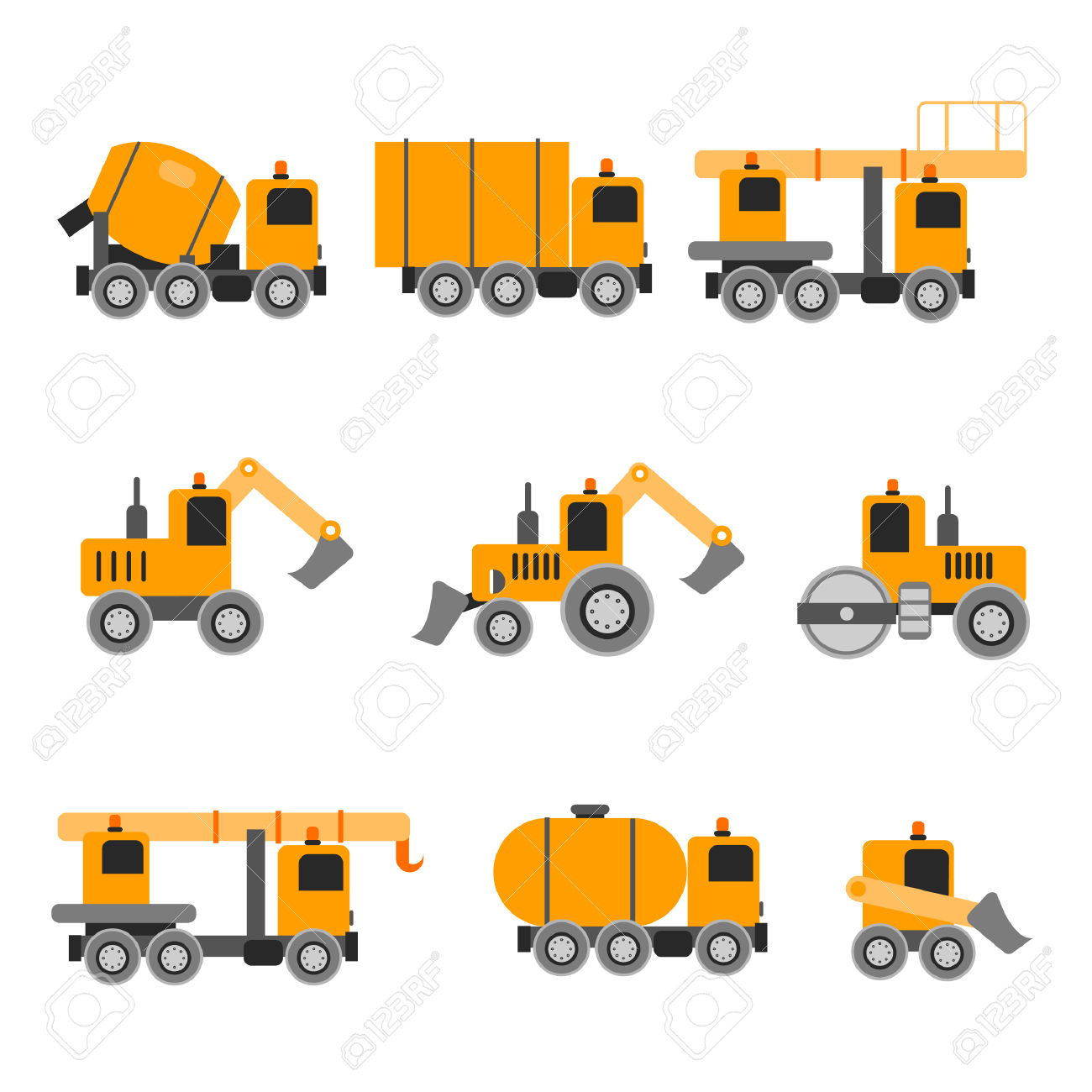 Construction Machines. Heavy Machines. Vector Illustration. Flat.