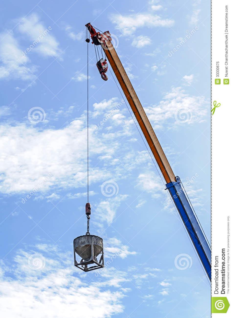 Crane Hoist Concrete Bucket Royalty Free Stock Photo.
