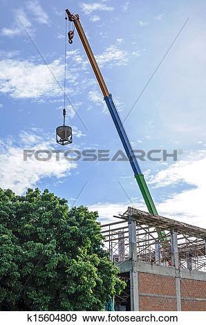 Stock Photograph of Crane hoist concrete bucket k15604809.