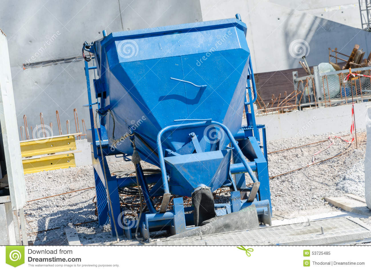 Concrete Bucket For Tower Cranes Stock Photo.