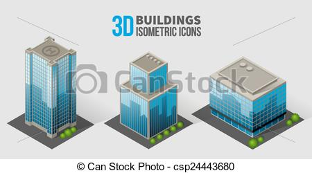 Vector of Vector skyscrapers with trees, isometric buildings of.