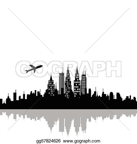 Clip Art Cityscape with skyscrapers Stock Illustration gg57824626.