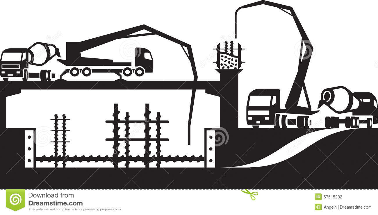 Concrete Pump Truck Stock Illustrations.