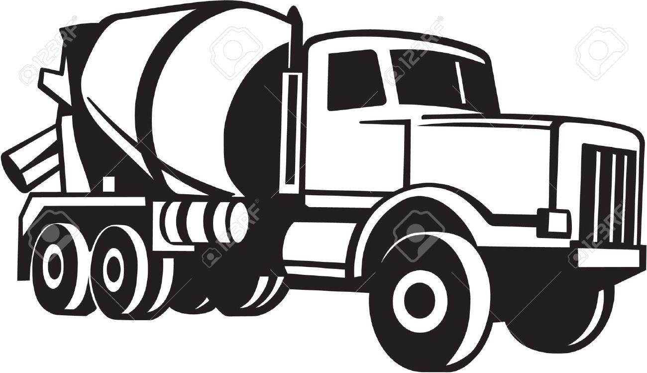 Cement mixer truck clip art.