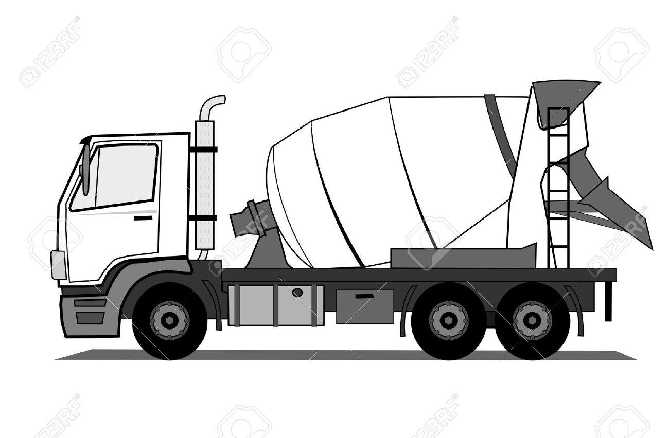 Concrete mixer truck clipart - Clipground