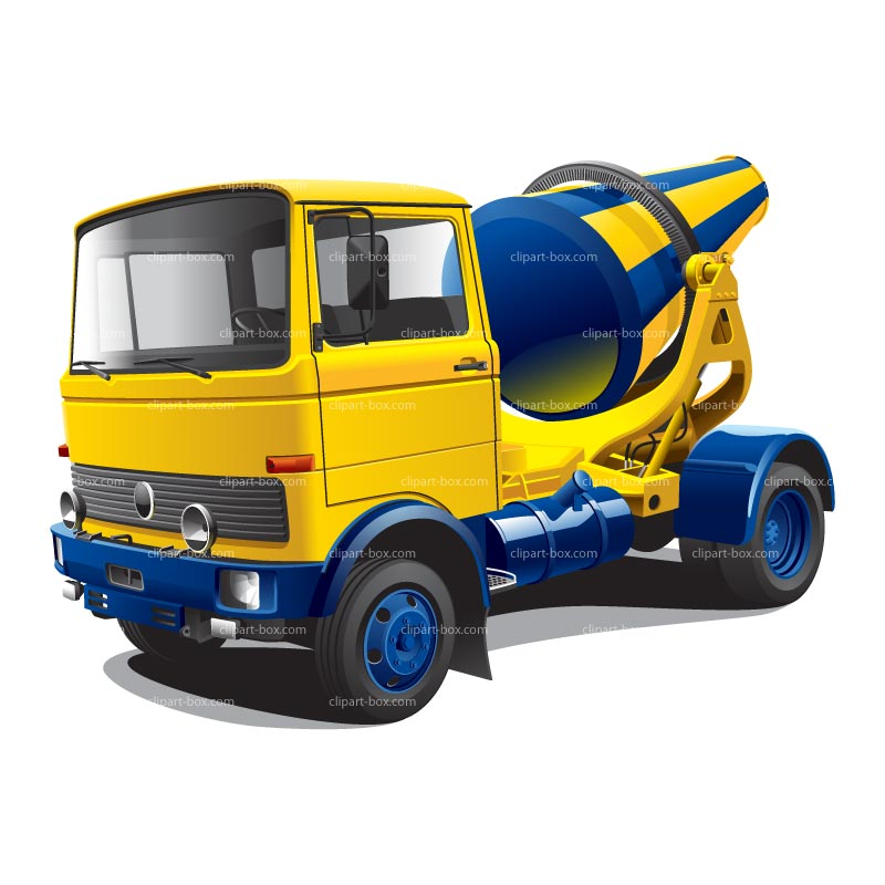 CLIPART YELLOW CONCRETE MIXER TRUCK.