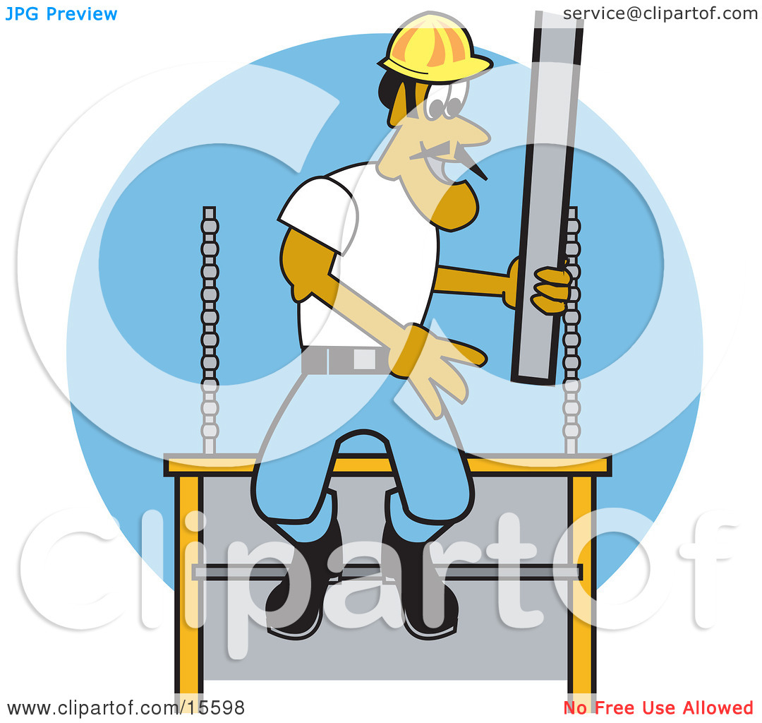 Male Construction Worker Laying Concrete Slabs And Wearing A.