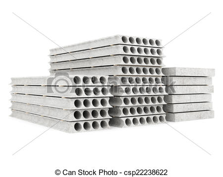 Clip Art of slabs of concrete on a white isolated background.